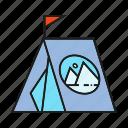 advertising, branding, branding identity, camp, flag, tent icon
