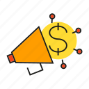 advertising, announce, market, marketing, megaphone, money, voice icon