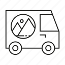 advertising, brand, brand identity, car, transport, van, vehicle advertising icon
