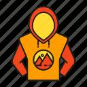 advertising, branding, branding identity, hoodie, hoodie jacket, sweater icon