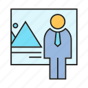 business people, manager, office, presentation icon