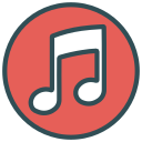 brand, circle, music, note, shape icon