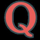 brand, letter, media, q, single, social icon