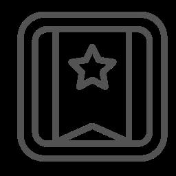 banner, brand, square, star icon