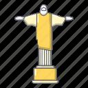 corcovado, cartoon, redentor, cristo, christ, object, landmark icon