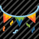 celebration, confetti, decoration, event, festival, flag, holiday icon