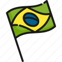 brazil, brazilian, country, flag, national, patriotic, state icon