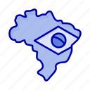 brazil, flag, map icon