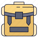 bag, camping, hiking, luggage, zipper icon