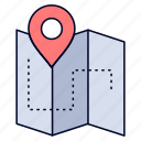 camping, location, map, plan, track icon