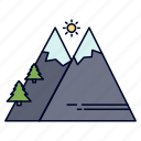 hiking, mountains, nature, outdoor, sun icon