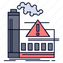 air, alert, factory, industry, pollution icon