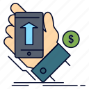 currency, hand, phone, shopping, smartphone icon
