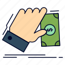 business, dollar, earn, hand, money icon