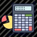 calculation, calculator, graph, math, progress