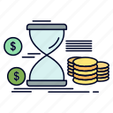 coins, hourglass, management, money, time icon