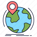 globe, location, marker, pin, worldwide icon