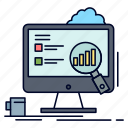 analytics, board, laptop, presentation, statistics icon