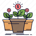growth, money, plant, pot, tree icon