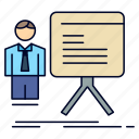 businessman, chart, graph, presentation, progress icon