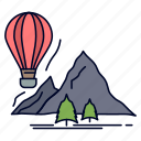 balloons, camping, explore, mountains, travel icon