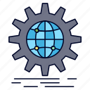 business, gear, globe, international, wide, world icon
