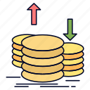 capital, coins, finance, gold, income icon