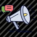 announcement, marketing, megaphone, promo, promotion