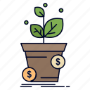 business, dollar, growth, pot, profit icon