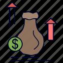bag, dollar, growth, money, stock icon