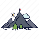 achievement, flag, mission, mountain, success icon