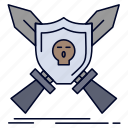 badge, emblem, game, shield, swords icon