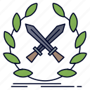 battle, emblem, game, label, swords