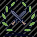 battle, emblem, game, label, swords