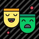 happy, masks, roles, sad, theater