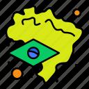 brazil, flag, map