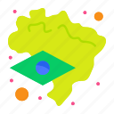 map, brazil, flag icon
