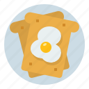 bread, breakfast, egg, food, fried icon