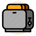 bread, bread slice, breakfast, toast, toaster icon