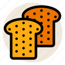 bread, bread slice, breakfast, toast, wholegrain icon