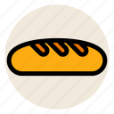 bakery, bread, breakfast, french bread, loaf bread icon