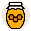 bee, breakfast, honey, honey jar, honeycomb, jar icon