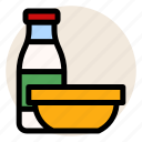 breakfast, cereal, corn fleaks, milk, milk bottle, oatmeal icon