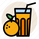 breakfast, fruit, fruit juice, glass, juice, orange, orange juice icon
