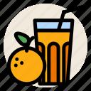 breakfast, fruit, fruit juice, glass, juice, orange, orange juice