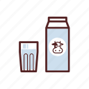 box, breakfast, carton, drink, glass, milk icon
