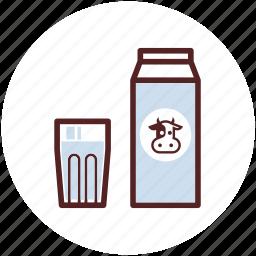 box, breakfast, carton, drink, glass, milk icon