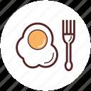 breakfast, egg, food, fork, fried, snack, chicken egg