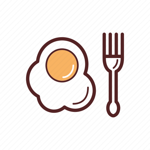 breakfast, chicken egg, egg, food, fork, fried, snack icon