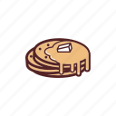 breakfast, butter, food, maple, pancakes, snack, syrup icon
